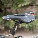 BC-651 Road Bike Leather Seat Bicycle Hollow Seat Saddle (Black)