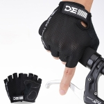 BC-204 Bicycle Half Finger Gloves Lycra Fabric Cycling Gloves, Size: L (Black)