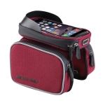 BaseCamp BC-311 Bicycle Phone Bags Mountain Road Bike Front Head Top Frame Handlebar Bag with Transparent Window & Sun Visor for 6 Inch 16x8cm and Below Smartphones (Red)