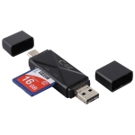 USB-C / Type-C + SD + TF + Micro USB to USB 2.0 Card Reader (Black)