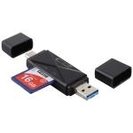 USB-C / Type-C + SD + TF + Micro USB to USB 3.0 Card Reader (Black)
