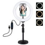 PULUZ 7.9 inch 20cm Light+ Round Base Desktop Mount USB 3 Modes Dimmable Dual Color Temperature LED Curved Light Ring Vlogging Selfie Photography Video Lights with Phone Clamp (Black)