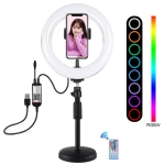 PULUZ PULUZ 7.9 inch 20cm RGBW Light + Round Base Desktop Mount Dimmable LED Dual Color Temperature LED Curved Light Ring Vlogging Selfie Photography Video Lights with Phone Clamp(Black)