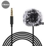 PULUZ 3m 3.5mm Jack Lavalier Wired Condenser Recording Microphone with Fur Windscreen Cap