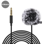 PULUZ 6m 3.5mm Jack Lavalier Wired Condenser Recording Microphone with Fur Windscreen Cap