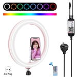 PULUZ 12 inch RGB Dimmable LED Ring Vlogging Selfie Photography Video Lights with Cold Shoe Tripod Ball Head & Phone Clamp (Pink)(AU Plug)
