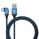 MOMAX 1.2m 5A USB to Type-C / USB-C Elbow Braided Data Sync Charge Cable (Blue)