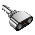 2 Cigarette Lighters + 2 USB Ports Multi-function Car Charger with Digital Display(Silver)