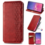 For Samsung Galaxy S10 Plus Cubic Grid Pressed Horizontal Flip Magnetic Fashion PU Leather Case with Holder & Card Slots & Wallet & Lanyard(Red)