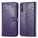 For Huawei Y8P / Enjoy 10S Halfway Mandala Embossing Pattern Horizontal Flip Leather Case with Holder & Card Slots & Wallet & Photo Frame & Lanyard(Purple)