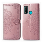 For Huawei P Smart 2020 Halfway Mandala Embossing Pattern Horizontal Flip Leather Case with Holder & Card Slots & Wallet & Photo Frame & Lanyard(Rose Gold)