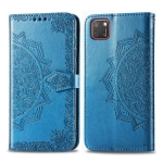 For Huawei Y5P 2020 /  Honor 9S Halfway Mandala Embossing Pattern Horizontal Flip Leather Case with Holder & Card Slots & Wallet & Photo Frame & Lanyard(Blue)