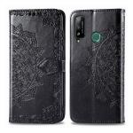 For Huawei Honor Play 4T Halfway Mandala Embossing Pattern Horizontal Flip Leather Case with Holder & Card Slots & Wallet & Photo Frame & Lanyard(Black)