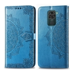 For Xiaomi Redmi 10X /  Note 9 Halfway Mandala Embossing Pattern Horizontal Flip Leather Case with Holder & Card Slots & Wallet & Photo Frame & Lanyard(Blue)
