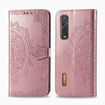For OPPO Find X2 Pro Halfway Mandala Embossing Pattern Horizontal Flip Leather Case with Holder & Card Slots & Wallet & Photo Frame & Lanyard(Rose Gold)