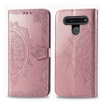 For LG K51S Halfway Mandala Embossing Pattern Horizontal Flip Leather Case with Holder & Card Slots & Wallet & Photo Frame & Lanyard(Rose Gold)