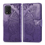 For Xiaomi Mi 10 Lite 5G Butterfly Love Flowers Embossing Horizontal Flip Leather Case , with Holder & Card Slots & Wallet & Lanyard(Dark Purple)