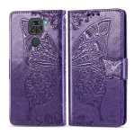 For Xiaomi Redmi 10X / Note 9 Butterfly Love Flowers Embossing Horizontal Flip Leather Case , with Holder & Card Slots & Wallet & Lanyard(Dark Purple)