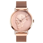 SKMEI 9173 Fashion Trend Skull Head Surface Business Strong Magnetic Buckle Stainless Steel Belt Men Quartz Watch(Rose Gold)