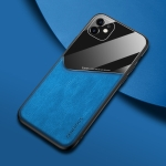 For iPhone 11 All-inclusive Leather + Organic Glass Phone Case with Metal Iron Sheet(Blue)