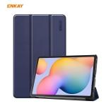 ENKAY ENK-8002 For Samsung Galaxy Tab S6 Lite P610 / P615 PU Leather + Plastic Smart Case with Three-folding Holder(Dark Blue)