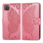 For Huawei Y5P Butterfly Love Flower Embossed Horizontal Flip Leather Case with Bracket / Card Slot / Wallet / Lanyard(Pink)