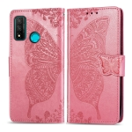 For Huawei P Smart 2020 Butterfly Love Flower Embossed Horizontal Flip Leather Case with Bracket / Card Slot / Wallet / Lanyard(Pink)