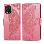 For Xiaomi 10 Lite 5G Butterfly Love Flower Embossed Horizontal Flip Leather Case with Bracket / Card Slot / Wallet / Lanyard(Pink)
