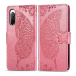 For Sony Xperia 10 II Butterfly Love Flower Embossed Horizontal Flip Leather Case with Bracket / Card Slot / Wallet / Lanyard(Pink)