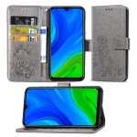 For Huawei P Smart 2020 Lucky Clover Pressed Flowers Pattern Leather Case with Holder & Card Slots & Wallet & Hand Strap(Gray)