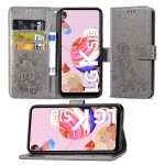 For LG K51S Lucky Clover Pressed Flowers Pattern Leather Case with Holder & Card Slots & Wallet & Hand Strap(Gray)