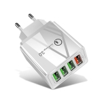 30W QC 3.0 USB + 3 USB 2.0 Ports Mobile Phone Tablet PC Universal Quick Charger Travel Charger, EU Plug(White)