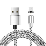 USB to 8 Pin Magnetic Metal Connector Nylon Two-color Braided Magnetic Data Cable, Cable Length: 2m(Silver)