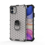 For iPhone 11 Shockproof Honeycomb PC + TPU Ring Holder Protection Case(White)