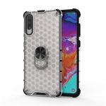 For Samsung Galaxy A50 Shockproof Honeycomb PC + TPU Ring Holder Protection Case(White)