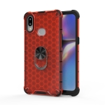 For Huawei Y6 2019 / Y6S / Y6 Prime Shockproof Honeycomb PC + TPU Ring Holder Protection Case(Red)