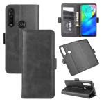 For Motorola Moto G Power Dual-side Magnetic Buckle Horizontal Flip Leather Case with Holder & Card Slots & Wallet(Black)