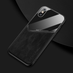 For iPhone XS Max All-inclusive Leather + Organic Glass Phone Case With Metal Iron Sheet(Black)