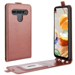For LG K61 R64 Texture Single Vertical Flip Leather Protective Case with Card Slots & Photo Frame(Brown)