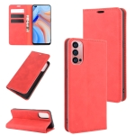For OPPO Reno 4 Pro 5G Retro-skin Business Magnetic Suction Leather Case with Holder & Card Slots & Wallet(Red)