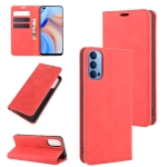 For OPPO Reno 4 5G Retro-skin Business Magnetic Suction Leather Case with Holder & Card Slots & Wallet(Red)