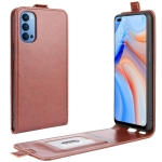 For OPPO Reno 4 5G R64 Texture Single Vertical Flip Leather Protective Case with Card Slots & Photo Frame(Brown)