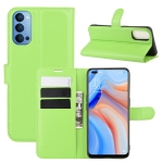 For OPPO Reno 4 5G Litchi Texture Horizontal Flip Protective Case with Holder & Card Slots & Wallet(Green)