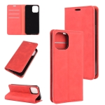 For iPhone 12 6.1 inch Retro-skin Business Magnetic Suction Leather Case with Holder & Card Slots & Wallet(Red)
