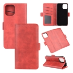 For iPhone 12 6.1 inch Dual-side Magnetic Buckle Horizontal Flip Leather Case with Holder & Card Slots & Wallet(Red)