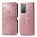 For Huawei Honor X10 Halfway Mandala Embossing Pattern Horizontal Flip Leather Case with Holder & Card Slots & Wallet & Photo Frame & Lanyard(Rose Gold)