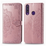 For Huawei Y6P Halfway Mandala Embossing Pattern Horizontal Flip Leather Case with Holder & Card Slots & Wallet & Photo Frame & Lanyard(Rose Gold)