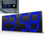 Wall Sticker LED Wall Clock Decorative Clock Creative Acrylic Mirror Clock US Plug, Style:Remote Version Sealed Box(Blue Font)