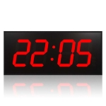 LED Large Screen Digital Electronic Clock Remote Control Double-sided Wall Clock US Plug(Red)