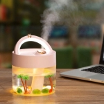 USB Charging Air Humidifier Heavy Fog Sprayer Household Desk Lamp Aromatherapy Diffuser Air Purifier(Pink)